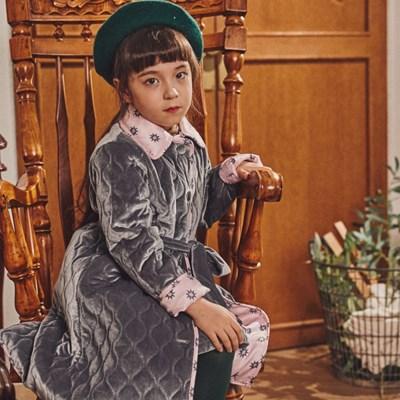 퍼키 벨벳 물결퀼팅 벨트 코트 (2컬러) 여아 자매 가을
