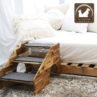 수제공작소 아카시아 원목 강아지계단 (카펫포함)