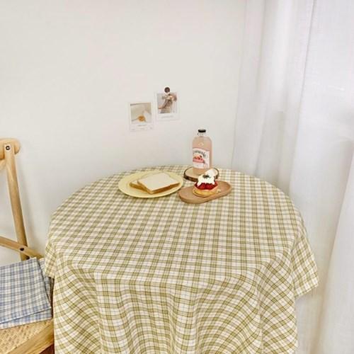빈티지 옐로 체크 테이블 식탁보 2size