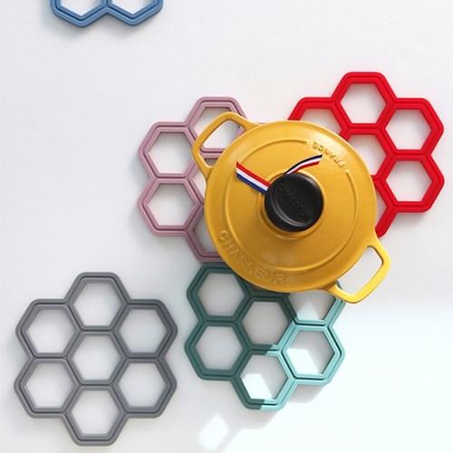 국내제작 허니콤 실리콘 냄비받침 (5colors)_(2110780)
