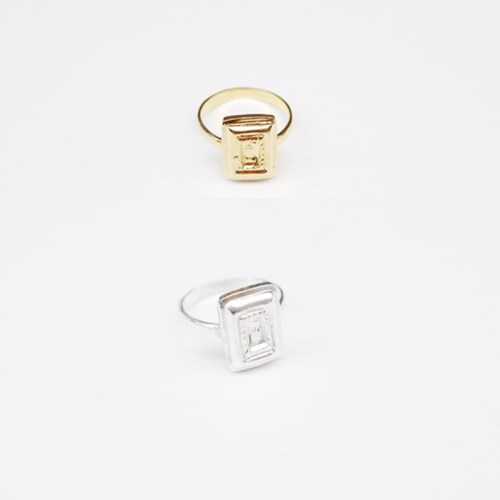Rectangle Bezel Ring - Gold, Silver