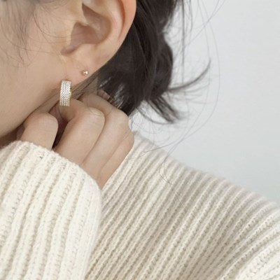 (silver 92.5) 트웰 큐빅 원터치링 귀걸이