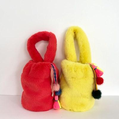 퍼키 세이블 에코퍼 비비드 손가방 (2컬러)