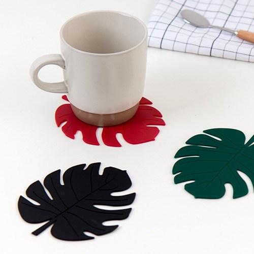 실리콘 코스터 몬스테라 나뭇잎 컵받침 2P세트 (5color)