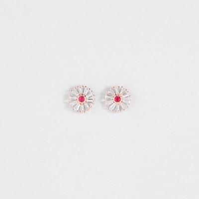 [쥬디앤폴] 마들렌 루비 레드 플라워 귀걸이 E51692