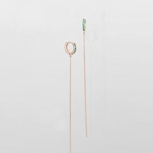 [쥬디앤폴] 아쥬흐 에메랄드 그린 슬림체인 링 귀걸이 E51633