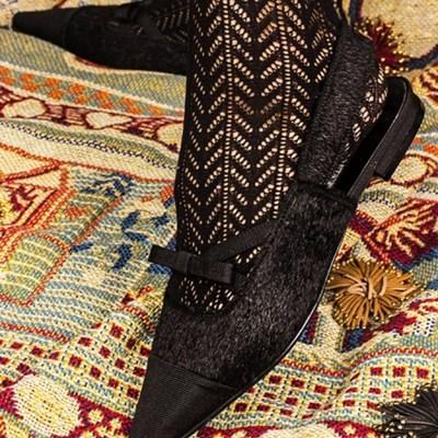X bow slingback (black hair)