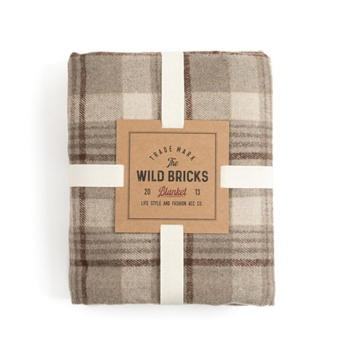 BP CHECK BLANKET (light grey)