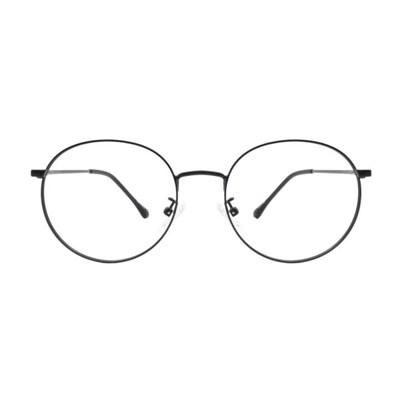 Rin BLACK 클래식 라운드 메탈 안경