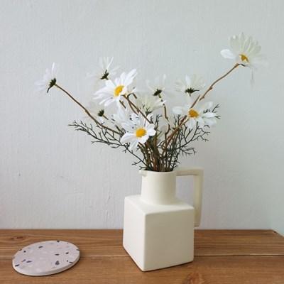 크림 매트 도자기 조화 꽃병 화병