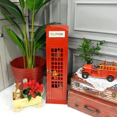 빈티지 철제 레드 전화박스 - Large