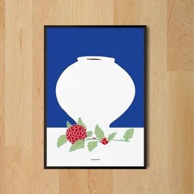 달항아리와 모란 M 유니크 인테리어 디자인 포스터 한국화 회화