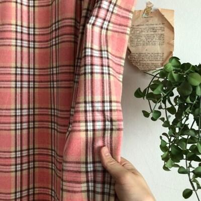 핑크핑크 선염 기모 체크 방한용 커튼