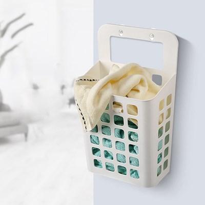 FT 벽부착 세탁바구니 화이트 생활용품 잡화