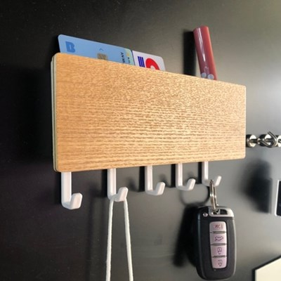 우드 현관 마스크 걸이 열쇠 차키 수납 벽 선반 2color