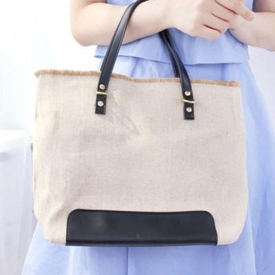 뉴트럴 컬러 트리밍 미디엄 핸드백 숄더백 가방 laleme-SP