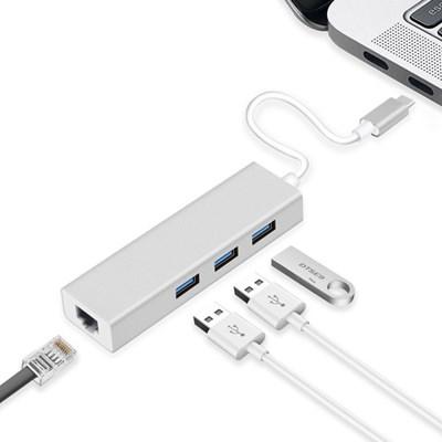 OMT C타입 USB3.0 3포트 허브 + 1000M 기가비트 유선 랜카드 랜포트