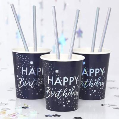 [빛나파티]네이비 실버 홀로그램 Happy Birthday 종이컵 Iridescent