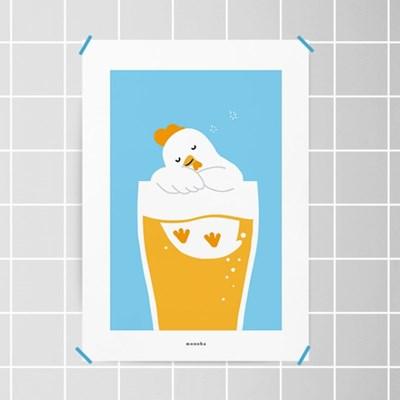 치맥퐁당2 M 유니크 인테리어 디자인 포스터 치킨 맥주