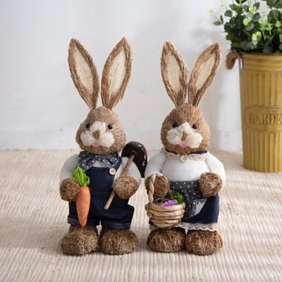 짚단 토끼 2P세트 (50cm-네이비)