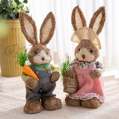 짚단 토끼 2P세트 (50cm-청바지+핑크)