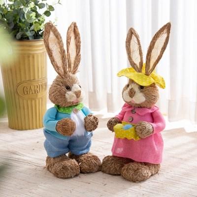 짚단 토끼 2P세트 (50cm-블루+핑크)