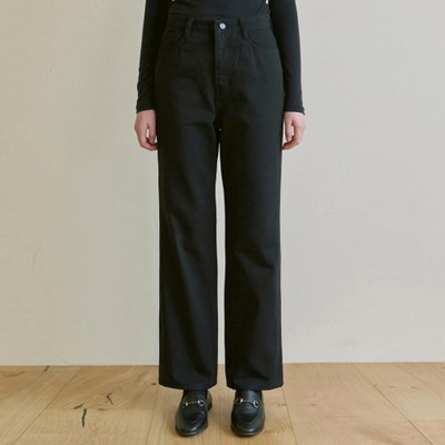 HIGH WAIST WIDE COTTON PANTS_BLACK