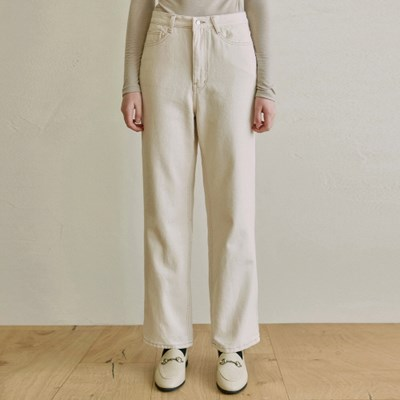 HIGH WAIST WIDE COTTON PANTS_OATMEAL