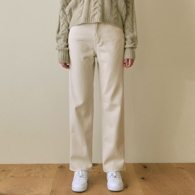 HIGHRISE ECRU COTTON PANTS_CREAM