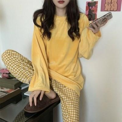 데일리 체크 여성 잠옷 파자마 세트