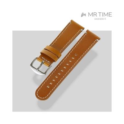 [MR TIME Basic Gray Stitch Leather Tan] 가죽 시계줄 그레이탄