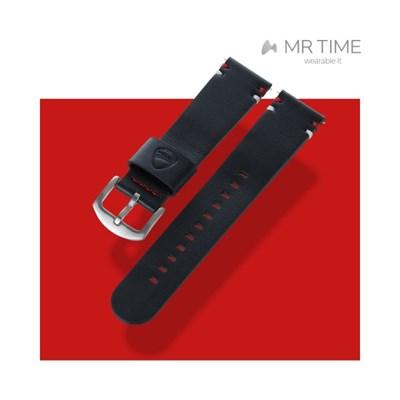 [MR TIME x DUCATI] 두카티 콜라보 시계줄 포인트 스티치 레더 블랙