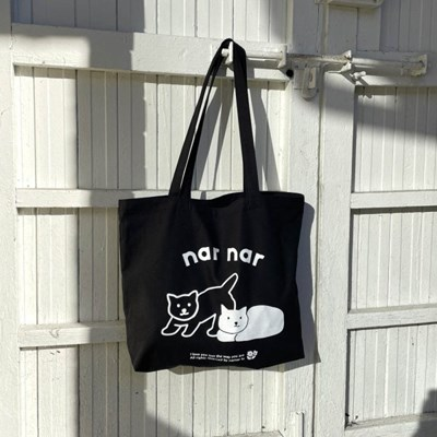 two cats 에코백[black]