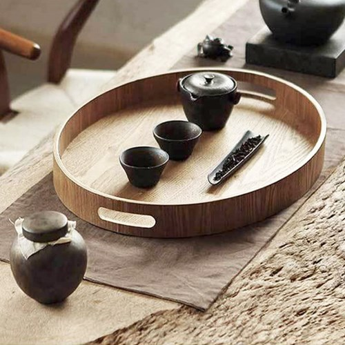 손잡이 원형 우드 나무 트레이 쟁반 (원형/특대)
