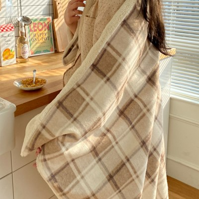 winter check blanket _ brown