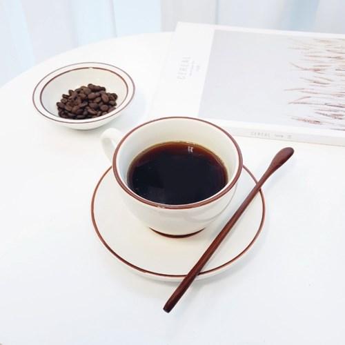 브라운 빈티지 커피 컵, 소서 set