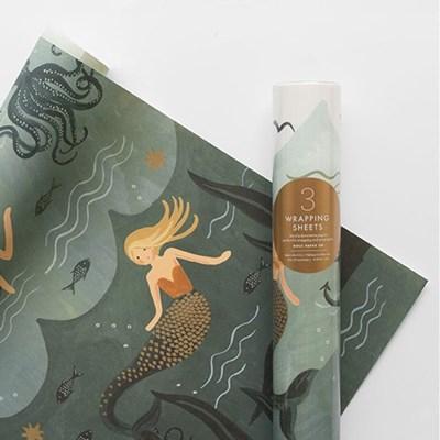 Mermaid Wrapping 3 Sheets 포장지