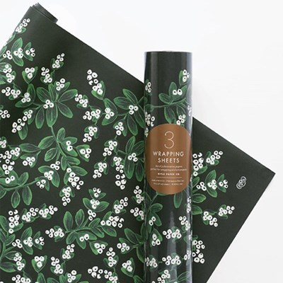 Evergreen Mistletoe Wrapping 3 Sheets 포장지