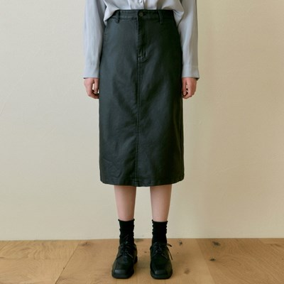 LEATHER H MIDI SKIRT_BLACK