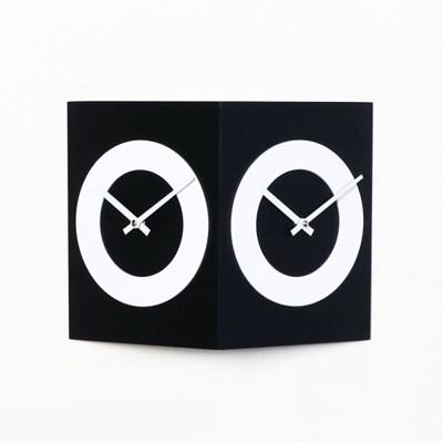 우드 모던 부엉이 양면 저소음 벽시계-블랙