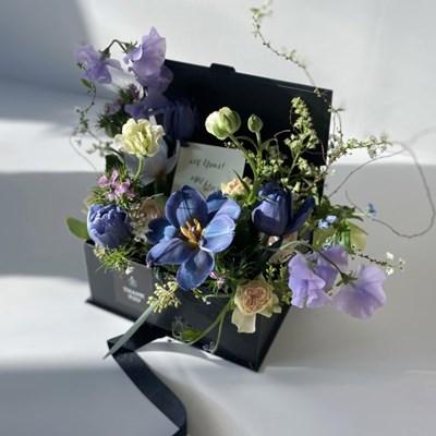 [생화] 반전 용돈 블랙 박스 플라워박스 (블루/퍼플)