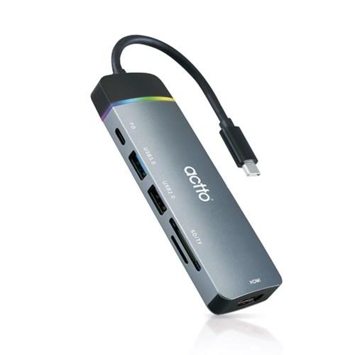 엑토 6in1 C타입 PD 미러링 카드리더 멀티허브 CRH-20