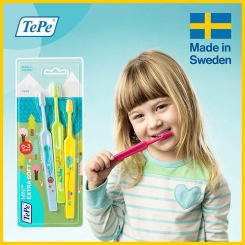 TePe 테페 어린이 Mini Extra Soft 세트 3개입_(3008855)