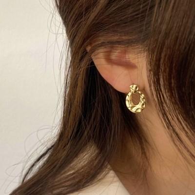 [귀찌가능] 빈티지 무광 볼드 엔틱 링 은침 귀걸이