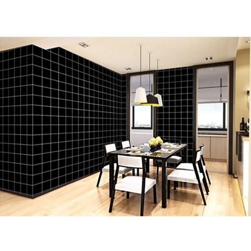 격자무늬 셀프도배 벽 시트지(5M-블랙)/ 접착식벽지