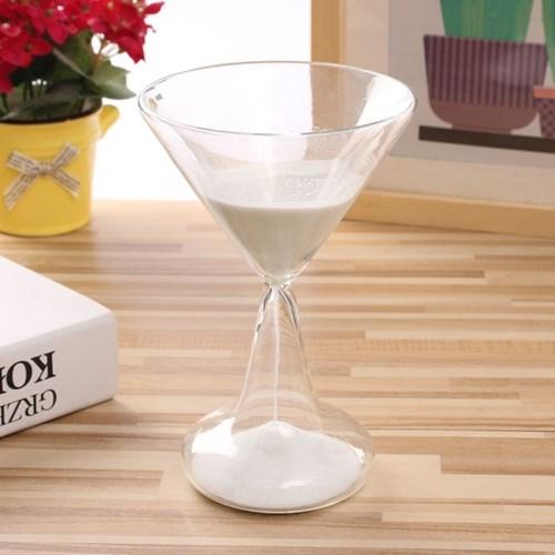와인잔타임 유리 모래시계(화이트) 5분 타이머