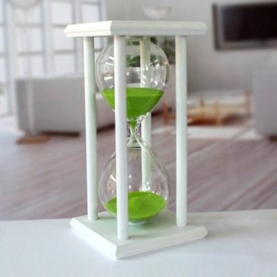 화이트원목 인테리어 모래시계(그린) 30분 타이머