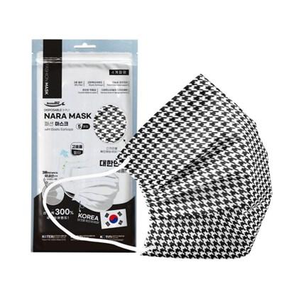 NARA 국산 3중 필터 패션마스크 5P -블랙체크