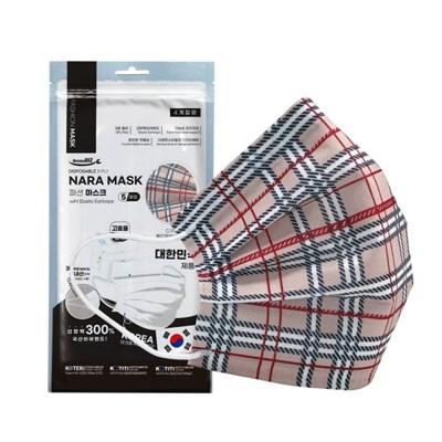 NARA 국산 3중 필터 패션마스크 5P -브라운체크