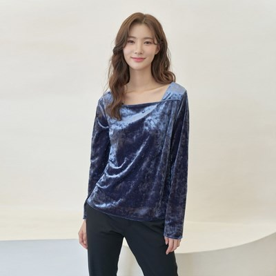SQUARE NECK CRUSHED VELVET TOP